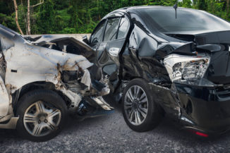 Broken cars after a collision